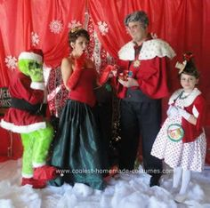 Handmade Grinch Char Handmade Grinch Character Group Costumes: I have been making my kids costumes every year after their first birthday. I love to dress my kids up in costumes that will make them feel really special Grinch Halloween, Grinch Christmas Party, Grinch Party, Christmas Party Themes, Halloween 2018, Christmas 2019, Whoville Costumes, Cute Costumes, Carnival Costumes