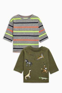 Цвета хаки/в полоску - Набор из двух футболок с длинным рукавом с отделкой и изображением животных (3 мес.-6 лет)