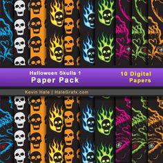 halloween skulls 1 FREE Halloween Skulls Digital Paper Pack
