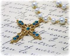 medieval jewelry   Cross Necklace - Renaissance Jewelry - Medieval Jewelry - Pearl ...
