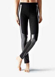 Cotton Leggings with Leather Inserts