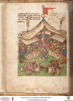 the art of astronomy and geomancy (Württemberg, cent. Medieval Market, Medieval Life, Medieval Fashion, Medieval Clothing, Renaissance, Medieval Manuscript, Illuminated Manuscript, Medieval Crafts, Dark Ages