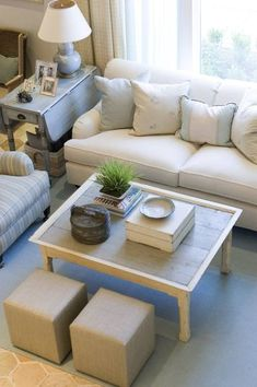 Like this living room arrangement....not my design style but like the scale of the stools, and how the general layout makes you want to have a conversation with friends and family