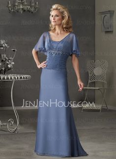 Mother of the Bride Dresses - $122.99 - Fascinating Sheath Scoop Neck Floor-Length Chiffon  Charmeuse Mother of the Bride Dress with Ruffle  Lace  Beading (008003502) http://jenjenhouse.com/pinterest-g3502