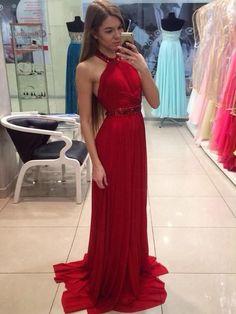 Red prom dresses, A-line Halter Sweep Brush Train Chiffon Prom Dress Evening Dress MK212
