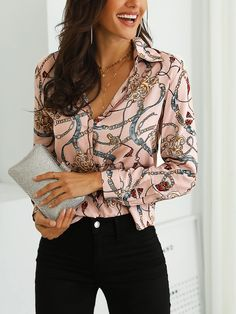 2019 Women Elegant Fashion Casual Turn-down Collar Shirt Office Workwear Top Long Sleeve Chain Print Casual Blouse - Vicky Lim Beauty Womens Fashion Online, Womens Fashion For Work, Fall Fashion, Fashion Trends, Mein Style, Women's Fashion Dresses, Casual Shirts, Casual Tops, Blouses For Women