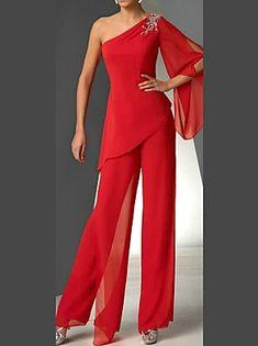 Jumpsuit Damen Elegant, Beautiful Outfits, Cool Outfits, Chiffon Pants, Red Chiffon, Chiffon Dresses, Elegant Dresses, Ideias Fashion, Fashion Ideas