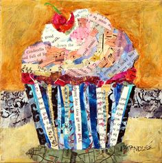 "Nancy Standlee Fine Art: Cupcake Collage, 12082, ""Oh, I Am a Lucky Boy!"", Torn Paper Painting by Texas Collage Artist Nancy Standlee"