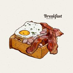Breakfast In Toast With Eggs And Bacon. Hand Draw Sketch Vector Stock Vector - Illustration of american, breakfast: 171273299 Food Drawing, American Breakfast, Egg Toast, Breakfast Toast, Bacon Egg, Pop Art, How To Draw Hands, Eggs, Burger Restaurant