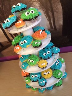 Little monster cupcakes for a boy baby shower.
