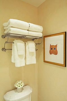 Girls bathroom renovation: towel rack, Picasso kitty print. For more inspo, check out http://www.susancorrydesign.com