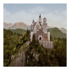 """Restored and retouched, Vintage Neuschwanstein Bayern square 24"""" x 24"""" photo posters, the ultimate 'fairy tale castle' in Upper Bavaria Germany"""