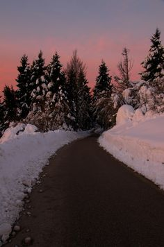 Sunrise upon snow and road