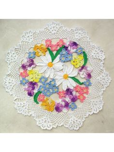 Flower Bouquet Doily Crochet Pattern This 12 delight is worked in several delightful colors of size 10 crochet cotton, and flowers are joined as you go. Crochet Flower Patterns, Butterfly Pattern, Crochet Doilies, Crochet Flowers, Crochet Shawl, Crochet Hook Sizes, Crochet Hooks, Free Crochet, Popular Crochet