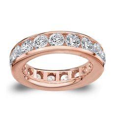 Amore 14k or 18k Rose Gold 5ct TDW Channel-set Diamond Wedding Band (G-H, SI1-SI2) (14K Rose Gold - Size 7), Women's