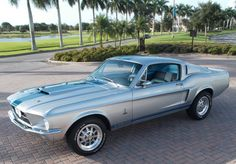 Sleek silver Shelby Mustang for #MuscleCarMonday