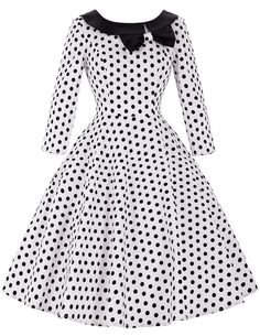 Long Sleeve 50s Rockabilly Dresses 2016 Autumn Winter Vintage Floral Polka Dot Dress Women Casual Retro 60s Swing Vestidos