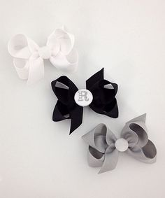 Black, White & Gray Small Initial Bow Clip Set