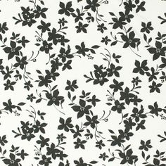 Charcoal Floral on White Cotton Spandex Knit Fabric - A lovely, high quality cotton jersey with spandex knit in a charcoal color floral design on natural white, not a optic bright white.  Fabric is light to mid weight with a nice 4 way stretch.  Biggest flower measures about 2