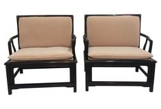 Widdicomb Asian-Style Lounge Chairs, Pr