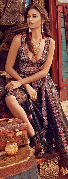 hair + dress + accessories /Irina Shayk