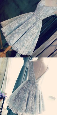 A-Line V-Neck Open Back Short Light Grey Homecoming Dress with Sash elegant light blue lace homecomi Short Graduation Dresses, Homecoming Dresses 2017, High Low Prom Dresses, Dresses Short, Formal Dresses For Women, Prom Dresses Blue, Event Dresses, Cheap Prom Dresses, Dance Dresses