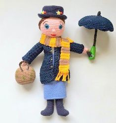 Make your own Mary Poppins amigurumi doll and recreate the iconic Disney character with this free crochet pattern! This famous nanny will delight your loved ones. Crochet Dolls Free Patterns, Crochet Doll Pattern, Amigurumi Patterns, Amigurumi Doll, Doll Patterns, Crochet Toys, Free Crochet, Crochet Fairy, Fairy Crafts