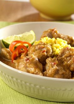 Slow-Cooked Caribbean-Style Pork Stew – Boneless pork simmered in a unique combination of peanut butter, onion and a Hawaiian-inspired sauce. Mmm! Prep this zesty recipe in 15 minutes in the morning and come home to a delicious dinner.