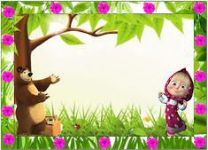 Fiestas Personalizadas Imprimibles: 20 Hermosas tarjetas de Masha y el Oso. Gratis Editable Bear Birthday, Mickey Mouse Birthday, 9th Birthday, Birthday Party Themes, Marsha And The Bear, Certificate Background, Unicorn Birthday Invitations, Happy Birthday Pictures, Sofia Party
