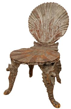 Venetian carved wooden chair, circa 1860s, $3600  During the 18th century, there was a huge fashion for creating grottoes; it was an ode to Romans, who created the artificial caverns as places to seek the Muses