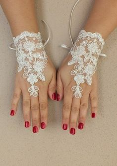 Ivory Wedding Glove, ivory lace gloves, long glove Fingerless Glove,