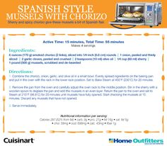 "Enter to Win: Cuisinart Daily Giveaways ""Spanish Style Mussels with Chorizo"" dish - Ola! Yummy Recipes, Cooking Recipes, Yummy Food, Convection Oven Recipes, Combi Oven, Enter To Win, Mussels, Spanish Style, Chorizo"