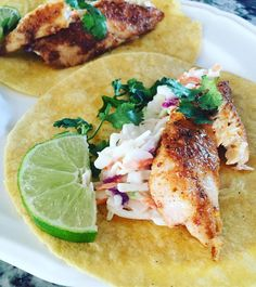 Monday night early bird special at our house - baja Cajun fish tacos with coleslaw, cilantro, and lime made with our traeger smoker...best way to start off the week  #tacos #fish #traeger #dinner #healthy #delicious #fresh #foodie #homemade Reposted Via @lirazf