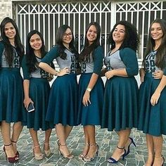 Group Matching Outfits Source by Outfits team Source by isabeldixonShop Outfits group Choir Dresses, Church Dresses, Church Outfits, Modest Skirts, Modest Outfits, Modest Fashion, Fashion Outfits, Choir Uniforms, Bridal Squad