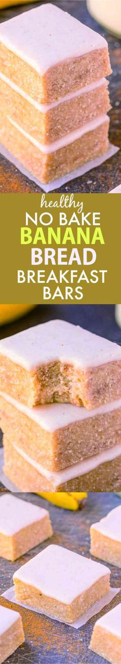 HEALTHY NO BAKE BANANA BREAD BREAKFAST BARS - banana, bread, dessert, healthy, milk, recipes, vanilla