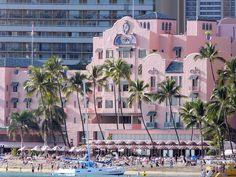 Waikiki Beach and The Pink Palace (Royal Hawaiian Hotel)
