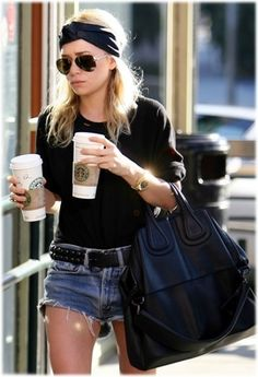 Team a black crew-neck sweater with blue denim shorts for a Sunday lunch with friends.   Shop this look on Lookastic: https://lookastic.com/women/looks/crew-neck-sweater-shorts-tote-bag-belt-sunglasses-headband-watch/12642   — Black Headband  — Black Sunglasses  — Black Crew-neck Sweater  — Gold Watch  — Black Leather Belt  — Blue Denim Shorts  — Black Leather Tote Bag