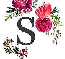 Floral Watercolor Monogram J Sticker By Saraloone Watercolor Lettering Monogram Wallpaper Floral Watercolor