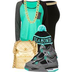 Aqua/Gray T-Shirt, Gold Chain/Bag, Black Tights, Diamond Supply Co. Beanie, Jordans