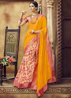 Cream N Light Orange Georgette Printed Half N Half Saree
