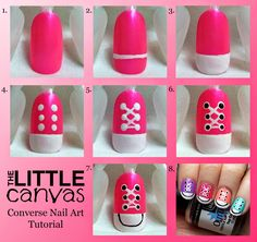 Converse Nail Art Step By Step ~ Entertainment News, Photos . Converse Nail Art Step By Step ~ Unt Nail Art Hacks, Nail Art Diy, Easy Nail Art, Cool Nail Art, Diy Nails, Cute Nails, Easy Art, Simple Art, It's Easy