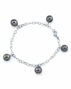 """9-10mm Tahitian Multicolor Pearl Dangling Tincup Bracelet in 14K Gold - AAAA Quality The Pearl Source. $749.00. Newest addition to our pearl jewelry collection.. High Quality with """"Very High"""" luster stunning pearl bracelet.. Every purchase comes in an elegant gift box designed to showcase your beautiful pearls and protect them.. Save 53% Off!"""