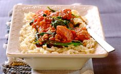 Tired of serving your dinner with mashed potato or rice? – try this mouth watering dish of spicy sautéed chorizo cooked with tomatoes and lentils served on pasta rice!
