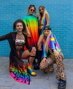 Rave Festival, Festival Looks, Festival Wear, Festival Fashion, Rainbow Outfit, Rainbow Fashion, Colorful Fashion, Sparkle Outfit, Music Festival Outfits