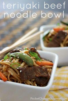 Teriyaki Beef Noodle Bowl :: Recipe on PocketChangeGourmet.com
