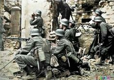 German soldeirs in a posed photo during the capture of Taliin , Estonia capital city, 1941