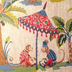 Exotic Monkey Linen Fabric Why this is special It is a beautiful French linen fabric It is approx 155 cms wide Pattern repeat 64 5 cms Washing Chalk Paint Colors, White Chalk Paint, Japanese Blossom, Colorful Dresser, Cushions To Make, Chalk Paint Furniture, Furniture Design, Ticking Stripe, Textile Fabrics