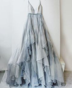 Leanne Marshall layered blue gown. So romantic!!