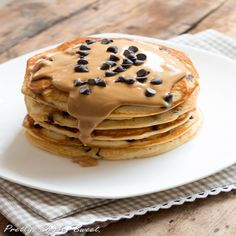 Chocolate Chip Peanut Butter Pancakes...definitely wanna make these this weekend.