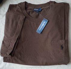 New 4XLT 4XL TALL POLO RALPH LAUREN Men crew neck pocket t-shirt tee brown 4XT